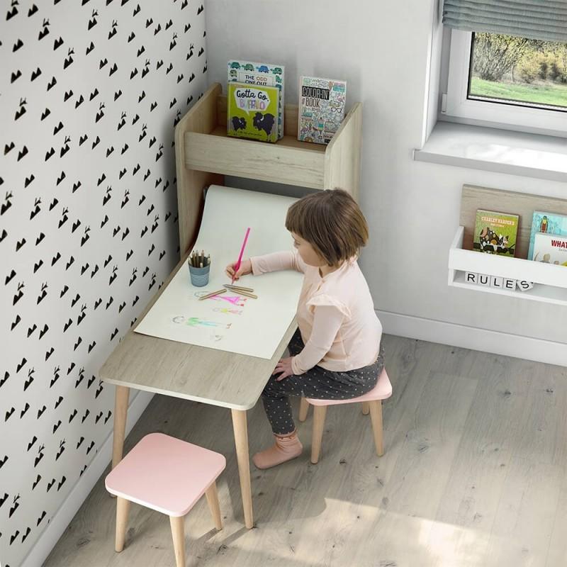 mesa escritorio infantil con estantería arco iris
