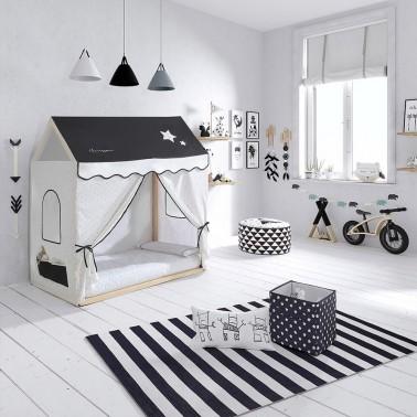 cama casita con vestidura claire de micuna