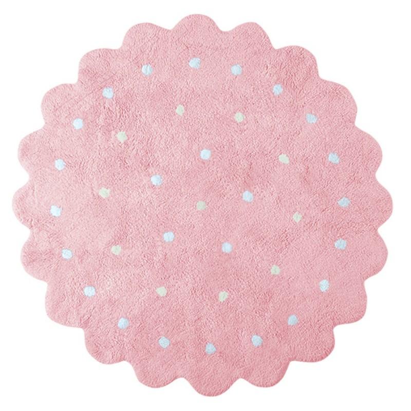 alfombra infantil lavable galletita rosa lorena canals