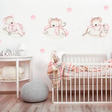 vinilo infantil ratoncitas en almohadas imda