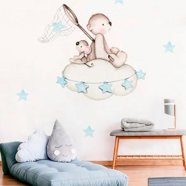 vinilo infantil busca estrellas azul imda
