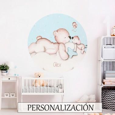 Vinilo Infantil Ventana Busca estrellas azul IMDA