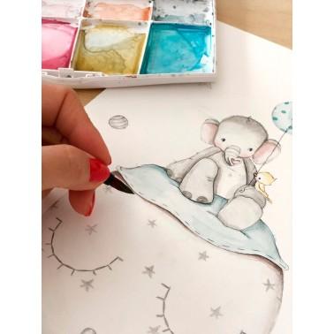 Vinilo Infantil Elefante azul IMDA