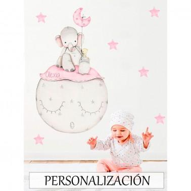 Vinilo Infantil Elefante rosa IMDA