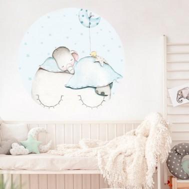 Vinilo Infantil Ventana Elefante azul IMDA