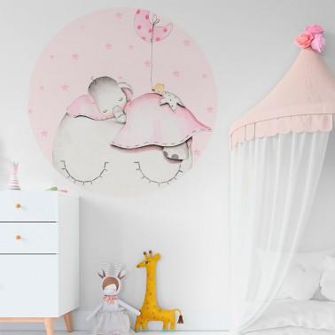 vinilo infantil ventana elefante rosa imda