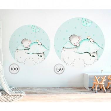 Vinilo Infantil Ventana Elefante mint IMDA