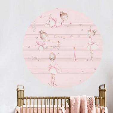 vinilo infantil ventana pentagrama rosa imda