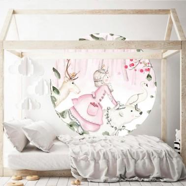 vinilo infantil ventana princesa nordica rosa imda
