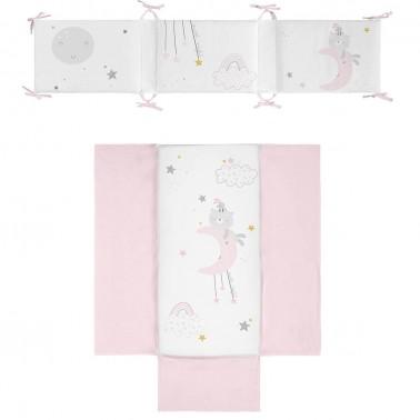 colcha y protector de cuna dulces sueños rosa