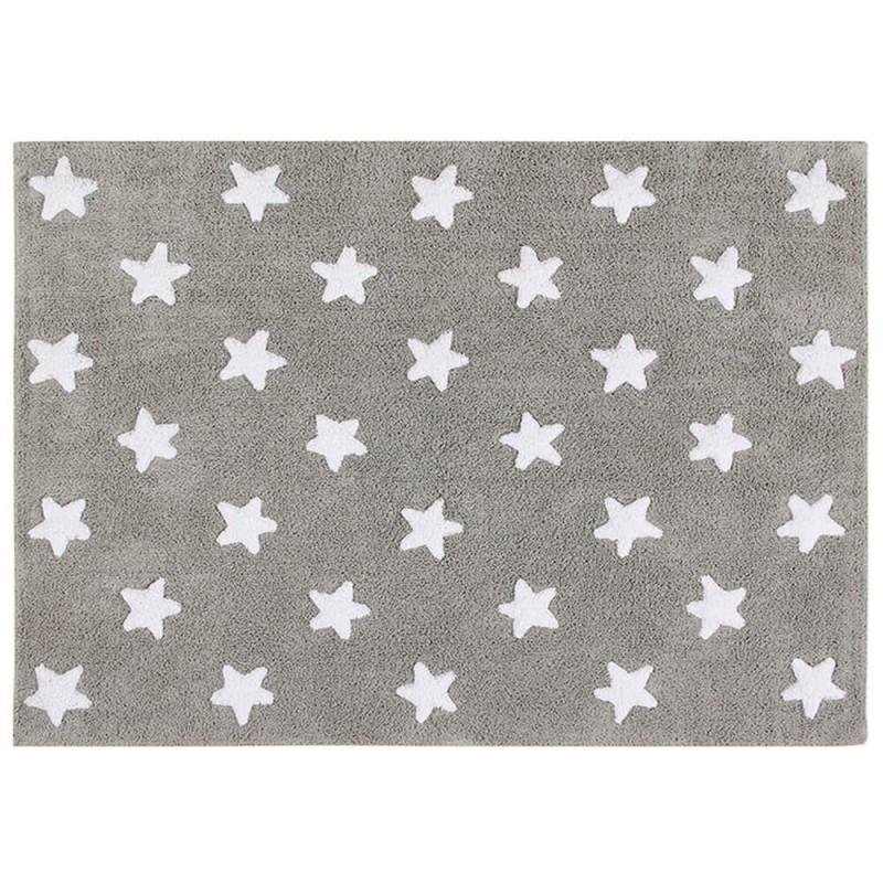 alfombra gris estrellas - bebeydecoracion
