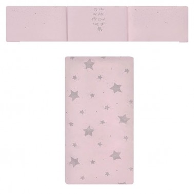 colcha y protector de cuna etoile rosa