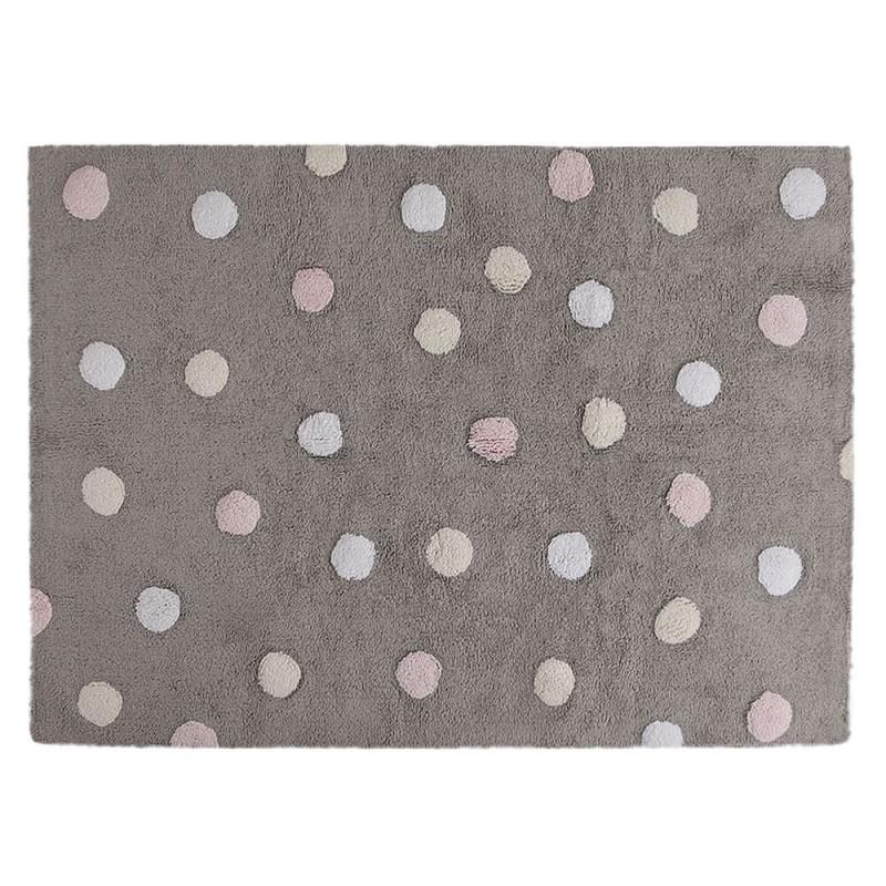alfombra infantil lavable topos tricolor rosa lorena canals