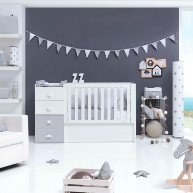 Cuna convertible JUST BUBBLE GREY Alondra