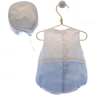 pelele con capota blanco y azul paula 1954
