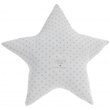 cojin decorativo estrella lino azul