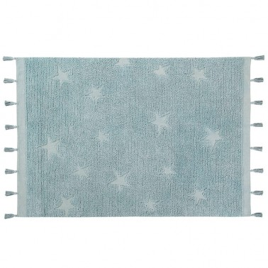 alfombra lavable hippy stars aqua blue lorena canals