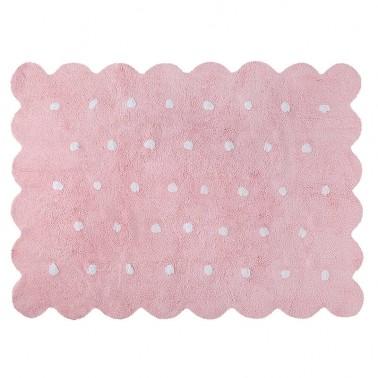 alfombra infantil lavable galleta rosa lorena canals