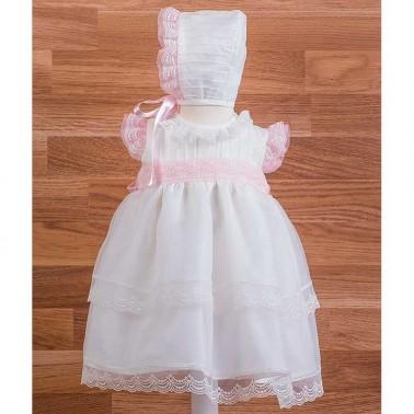 Vestido cristal jaretas con capota 34479