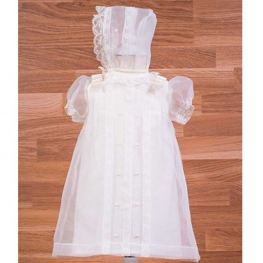 Vestido cristal bordado con capota 34195
