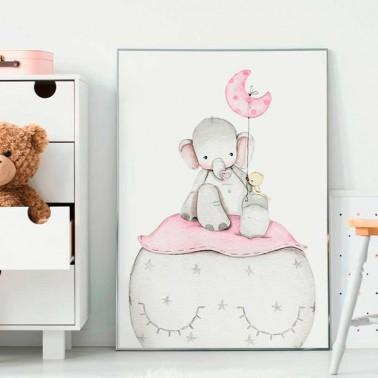 Lamina infantil Elefante rosa