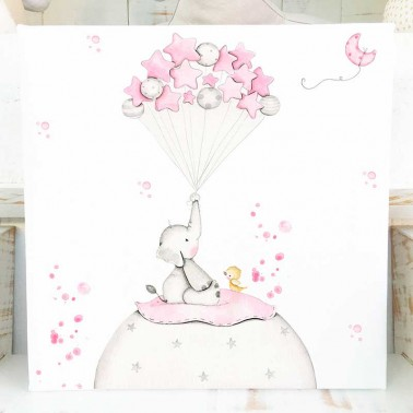 Cuadro infantil Elefante rosa