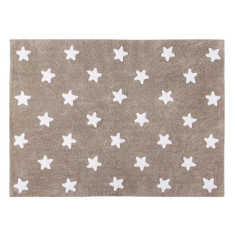 alfombra infantil lavable lino estrellas blancas lorena canals