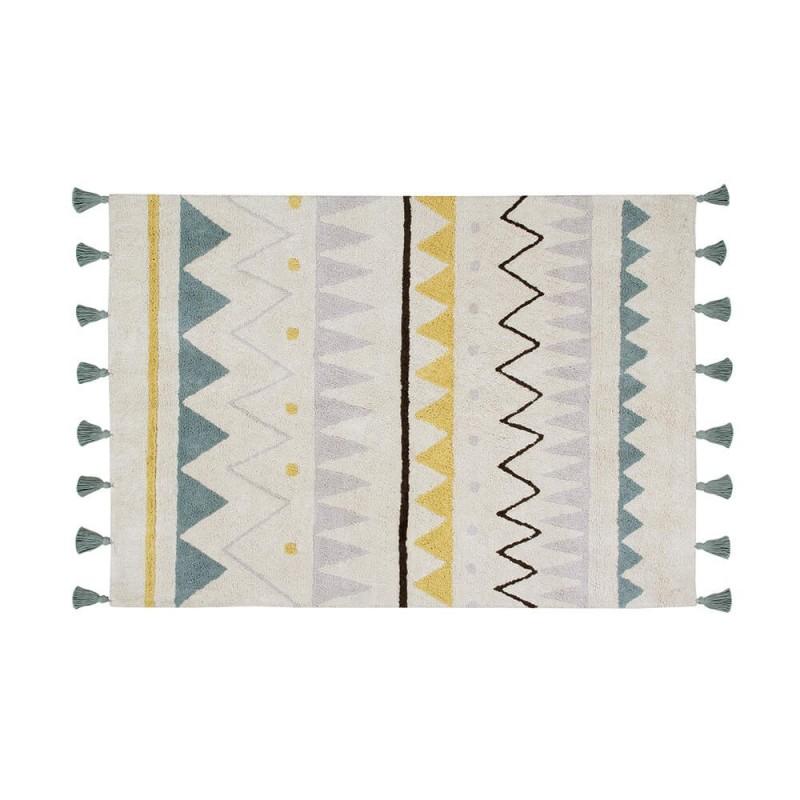 alfombra lavable azteca natural-vintage blue lorena canals