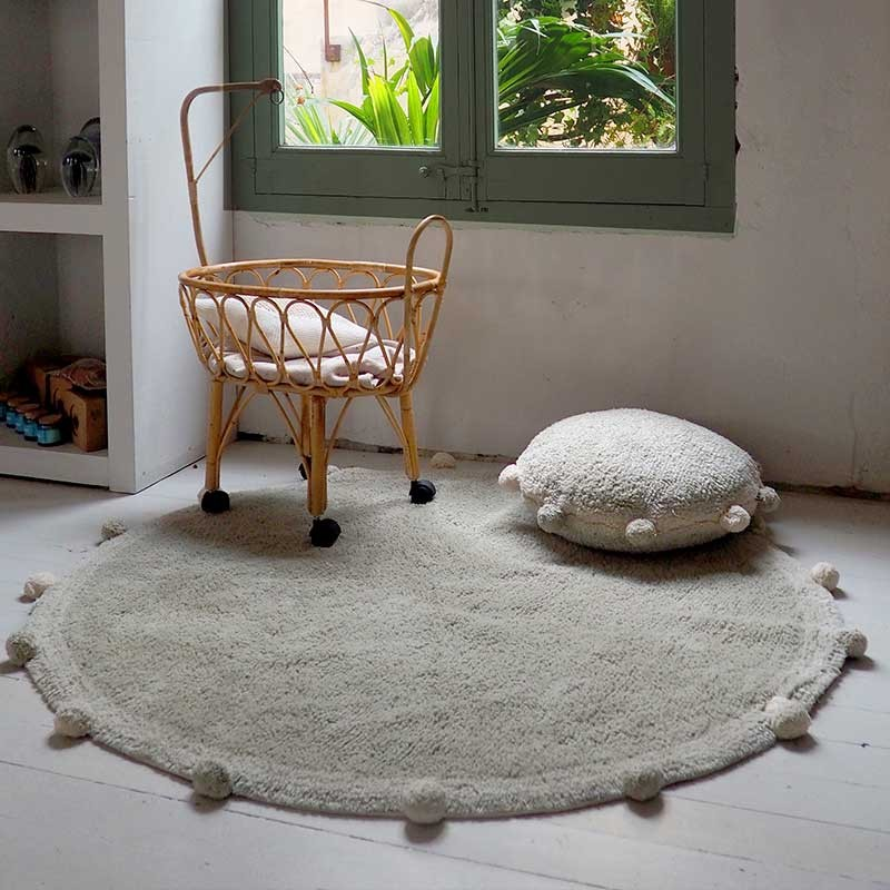 Alfombra lavable Bubbly Olive-Natural