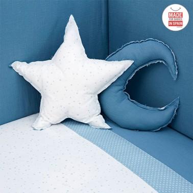 Pack nordico cuna Astra azul cojines