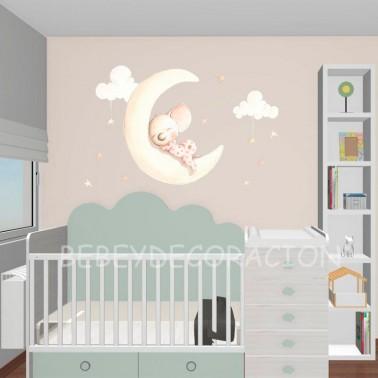 Vinilo infantil Sueños en la luna
