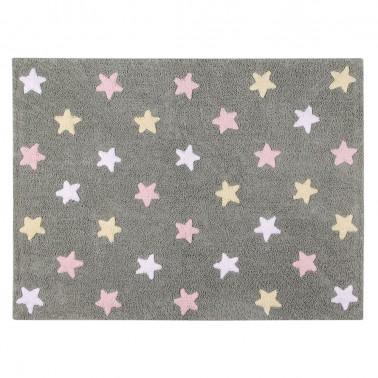 alfombra lavable estrellas tricolor rosa de lorena canals