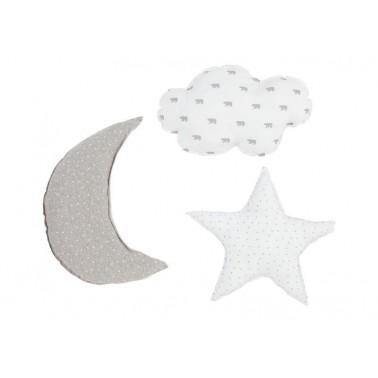 set cojines tres estampados gris perla de babyclic