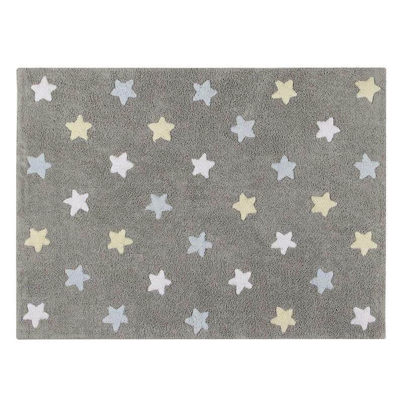 alfombra lavable estrellas tricolor azul de lorena canals