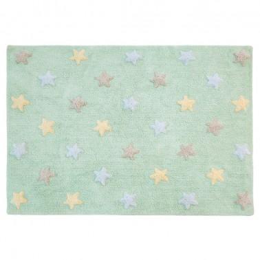 alfombra lavable estrellas tricolor soft mint de lorena canals
