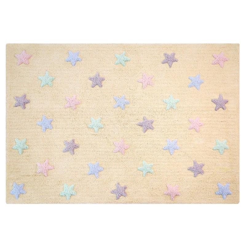 alfombra lavable estrellas tricolor vainilla de lorena canals