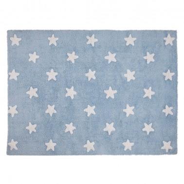 alfombra infantil lavable azul estrellas blancas de lorena canals