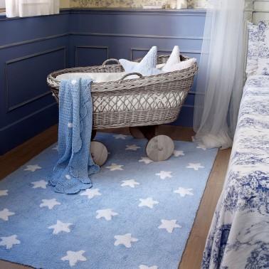 Alfombra Azul Estrellas Blancas - Lorena Canals
