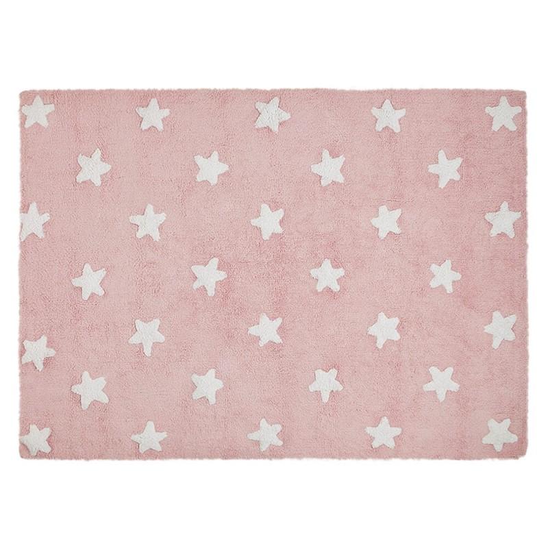 alfombra infantil lavable rosa estrellas blancas de lorena canals
