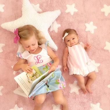 Alfombra Rosa Estrellas Blancas - Lorena Canals