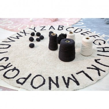 Alfombra lavable Round ABC Natural-Black
