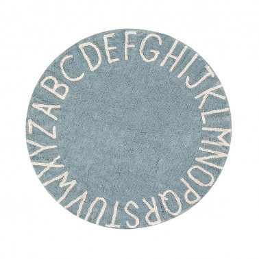 alfombra lavable round abc vintage blue-natural lorena canals
