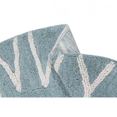 Alfombra lavable Round ABC Vintage Blue-Natural