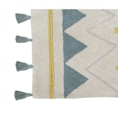 Alfombra lavable Azteca Natural-Vintage Blue