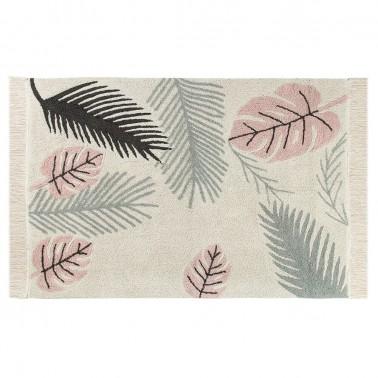alfombra lavable tropical rosa lorena canals